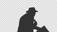 Silhouette of a man in cowboy hat singing & dancing (on alpha matte), Close-up Stock Footage