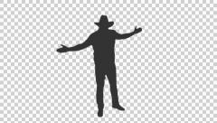 Silhouette of country western cowboy dancing (on alpha matte) Stock Footage