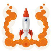 Rocket launch symbol of business startup - stock illustration