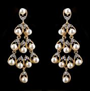 Pear Diamonds pearl Earrings - stock photo