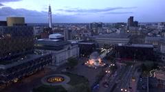 ULTRA HD 4K Timelapse nightfall Birmingham downtown traffic car cityscape emblem Stock Footage