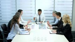 Group of businessmen on the negotiations. Business partners. Stock Footage