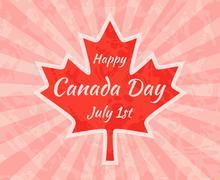 Happy Canada Day on Maple Leaf Stock Illustration