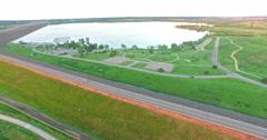 Aerial view of Cherry Creek Reservoir in Denver, Colorado. Stock Footage