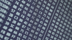 Hexadecimal program code scrolling background, seamless loop Stock Footage