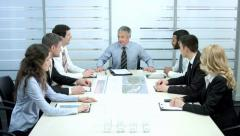Successful meeting of business partners. Chief welcomes employees. Stock Footage