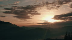 Ethereal time-lapse of a mountain morning view Stock Footage