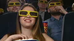 young people watching 3d movie at movie theater: comedy. Close up - stock footage