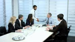 Business meeting in the conference hall. Negotiations businessmen. - stock footage