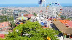 BARCELONA, Panoramic aerial city view from attraction park on Tibidabo mountain. Stock Footage