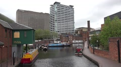 ULTRA HD 4K Beautiful city panorama old canal barge traditional pub Birmingham   Stock Footage