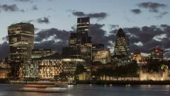 London Square Mile Financial District Waterfront Timelapse HD Stock Footage