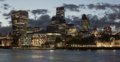 London Square Mile Financial District Waterfront Timelapse 4K Stock Footage