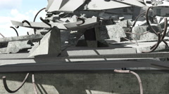 Construction debris close up panorama 4K - stock footage