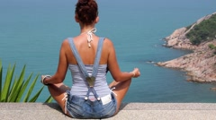 Meditation With Unbelievable Ocean View Stock Footage