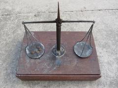 Handmade balance scale - stock photo
