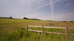 Green Landscape With Fence Stock Footage
