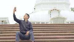 Tourist Takes A Selfie In Front Of The Conservatory Of Flowers(4K) Stock Footage