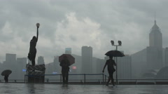 Rain at Hong Kong promenade 4K Stock Footage