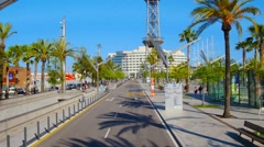BARCELONA, POV, driving towards international trade center in port. Stock Footage