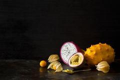 Exotic Tropical Fruit Dark Still Life - stock photo
