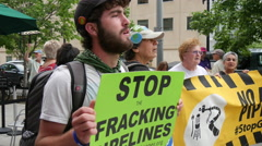 Stock Video Footage of Environmental Activists Protest FERC and Fracking 4K