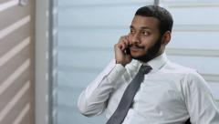 Businessman talking on the phone. Unsuccessful phone conversation. Stock Footage