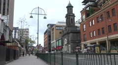 ULTRA HD 4K Traffic street Birmingham downtown traditional architecture town day Stock Footage