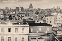 Vintage monochromatic image of Old Havana Stock Photos