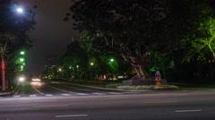 Century City Intersection at Night (4K) Stock Footage