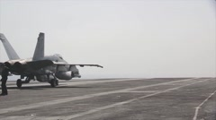 F/A-18F Super Hornets operating from USS George H.W. Bush Stock Footage