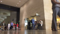 Timelapse people pass hall in the Louvre Stock Footage