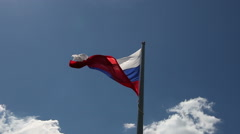Russian flag, blowing in the wind Stock Footage