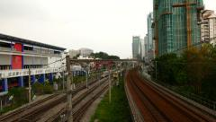 Many railways perspective urban view from top point. Suburban train approaches Arkistovideo