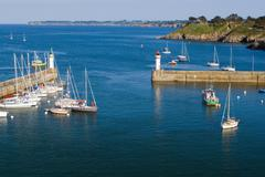 Top view of the marina of La Palais the island of Belle Ile en Mer. - stock photo