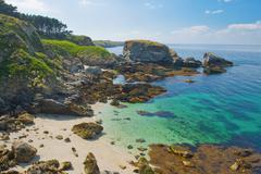Wild beach in the island Belle Ile en Mer. - stock photo