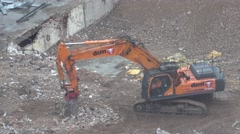 ULTRA HD 4K Timelapse excavator machine work soil mover ruin place construction  Stock Footage