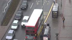 ULTRA HD 4K Timelapse traffic car bus station rainy day wet avenue Birmingham  Stock Footage