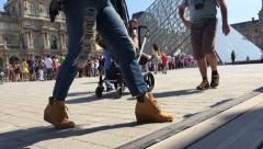 Timelapse The Louvre museum in Paris Stock Footage
