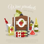Wine Products Flat Life Still Poster Stock Illustration