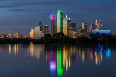 Dallas Skyline Reflection Stock Footage