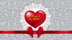 Will you be my valentine, Valentine's Day animated background Stock Footage