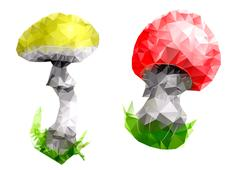 mushroom. triangular abstract design - stock illustration