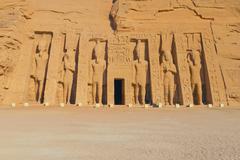 Temple of Hathor, dedicated to the wife of Ramses II, wife Nefertari. Stock Photos