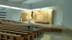 Sanctuary of Fatima, Portugal, - Interior of the modern - stock footage