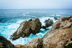 Waves and rocks in the Pacific Ocean, at Point Lobos State Natural Reserve, C - stock photo