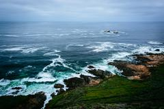 View of the Pacific Ocean from cliffs at Garrapata State Park, California. - stock photo
