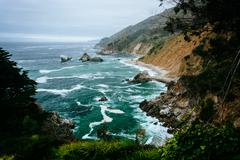 View of the Pacific Coast at Julia Pfeiffer Burns State Park, Big Sur, Califo - stock photo