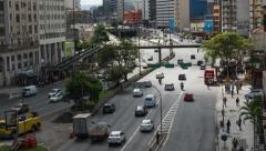 Timelapse View of Heavy Traffic in Central Sao Paulo, Brazil - Zoom Out Stock Footage