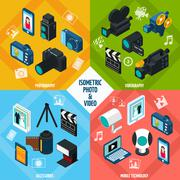 Isometric Photo Video Set Stock Illustration